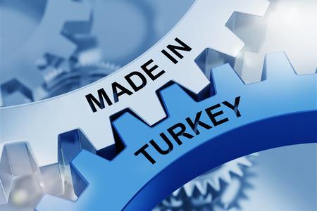 MADE IN TURKEY written on cogwheels. 3d Rendering