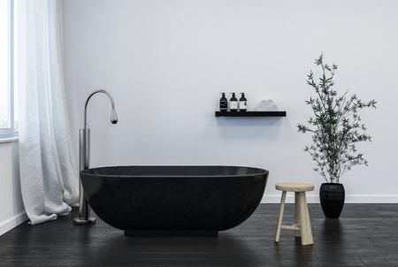 interior of modern bathroom with black bathtub. 3d Rendering
