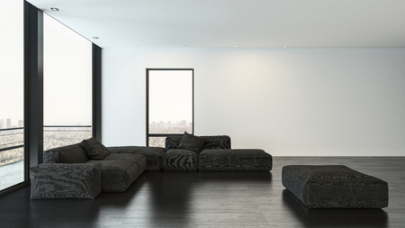 Sitting room with black sofas and rectangular pouf on top of dark hardwood plank floor in front of white wall. 3d rendering