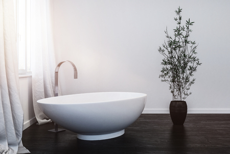 interior of modern bathroom with indoor plant. 3d Rendering Stock Photo