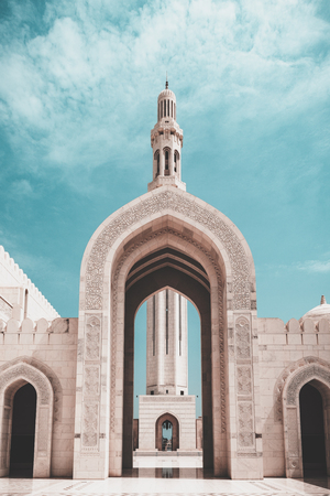 Entrance with gate, grand mosque, muscat, oman.