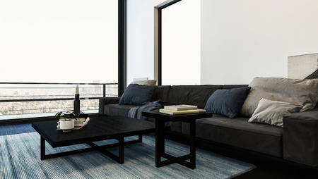Large comfortable sofa with cushions in a modern living room with monochromatic grey decor and a large view window with external patio. 3d rendering