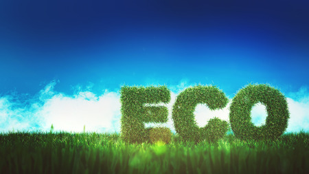 ECO sign on grass field with letters made of green hedge, viewed from low angle against bright blue sky. 3d Rendering.