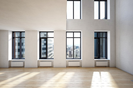 Empty spacious interior of modern building with high ceiling and city downtown view behind the windows. 3d Rendering. Stock Photo
