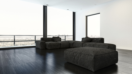 Empty living room containing plush black couches and large square pouf with balcony rail in the background. 3d rendering Stock Photo