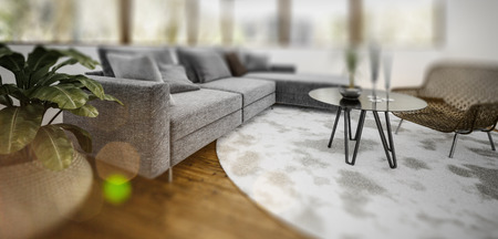 Image of contemporary sitting room filled with multiple pieces of assorted furniture with slight vignette blur. 3d rendering