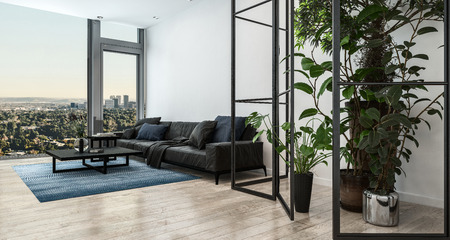 Living room interior with black couch in loft Stock Photo