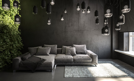 Dark living room interior with couch