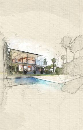 Exterior of Luxury Home - Rear View from Back Yard Showing In-Ground Swimming Pool, Palm Trees, and Two Storey House with Glass Balconies Banque d'images - 130167307