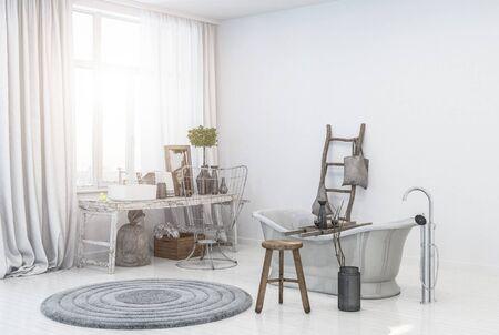 Vintage scandinavian bathroom interior Banque d'images - 130167308