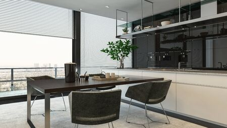 modern kichen interior with dining table Banque d'images - 130167304
