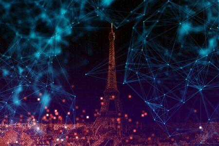 connectivity smart city concept of Paris 免版税图像