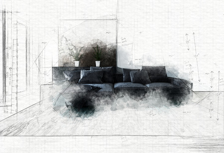 Abstract drawing of modern black couch