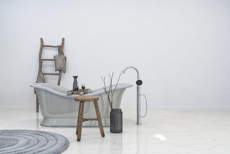 Vintage old style bathtub in interior