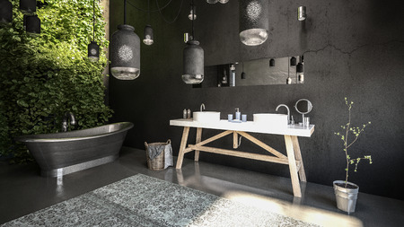Black design bathroom interior Banque d'images - 117405823