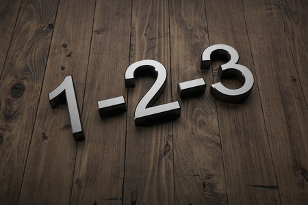 1-2-3 - Text on table. 3d rendering Stock Photo