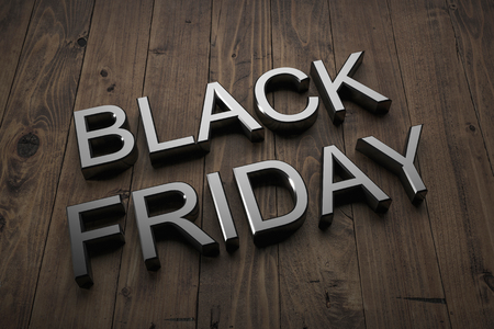 Black Friday - Text on table. 3d rendering