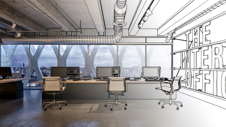 Design of office interior concept with sketched black and white and 3d rendered room with desktop computers and office chairs against wide panoramic window