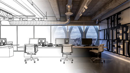 Office interior concept 3D model with half of image in black and white sketch. Loft room with armchairs on wheels and desktop computers on wide desk Stock Photo