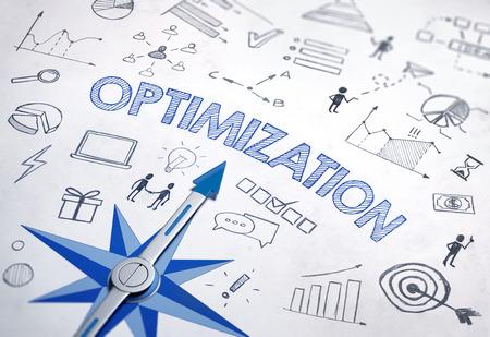 Optimierungskonzept mit handgezeichneten Geschäftskritzeleien und Grafiken, die einen Kompassstern mit Zeiger in Blau umgeben