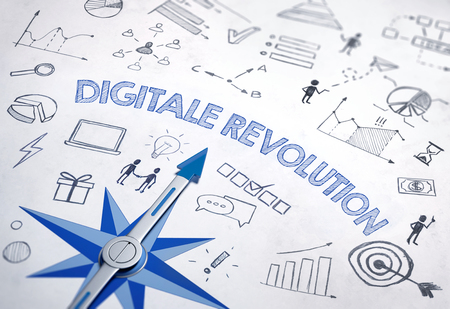 Digitale revolution (German for Digital Revolution) written in bold, blue font in an IT design with compass and various sketches. 3d Rendering