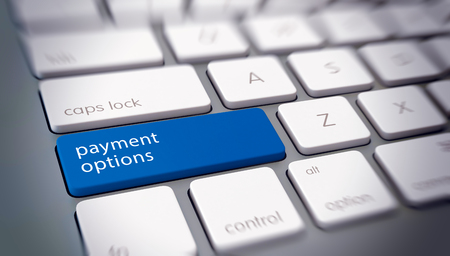 Online computer Payment Options concept with text on a single blue key on a white keyboard and blurred vignette Banque d'images - 124741919