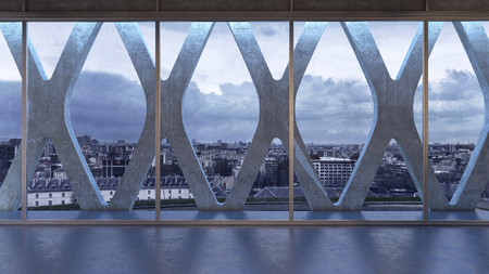 View of city through panoramic windows of business building, with X-shaped concrete wall construction behind the glass Stock Photo