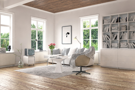 Bright living room interior concept with big windows and green foliage outside. Wooden floor and ceiling, white walls, cupboard with bookshelves and stylish armchair. 3d Rendering.