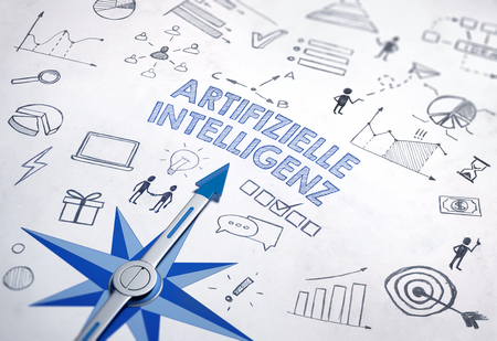 Artifizielle Intelligenz (German for Artificial intelligence) written in bold, blue font in an IT design with compass and various sketches. 3d Rendering