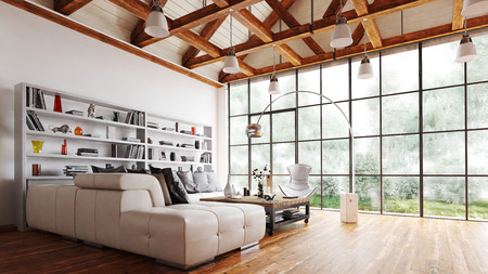 Spacious living room with feature wooden beams, wooden floor and large window over looking a garden furnished with sofas, table and a bookcase. 3d render