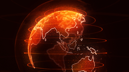 World globe with Asia highlighted by a golden orange light and the continent ringed by a line of sparkling lights
