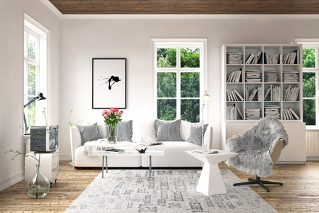 Stylish furniture in bright living room concept with old-fashioned decorative TV-set, white cupboard with bookshelves, armchair with coffee table and white couch near high windows. 3d Rendering.