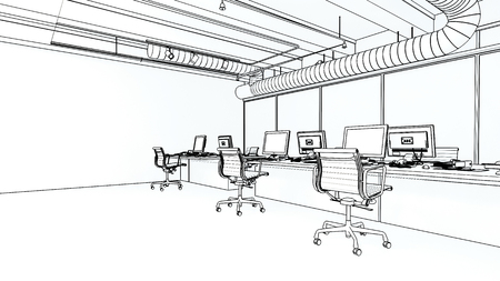 Office room interior with chairs on wheels and computers on long desk, 3D model in black and white sketch with copy space