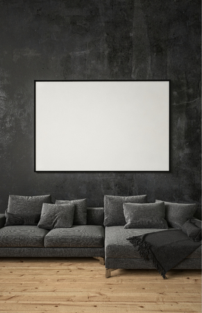 Grey couch with pillows in dark interior with wooden floor and copy space blank tv display on the black wall.