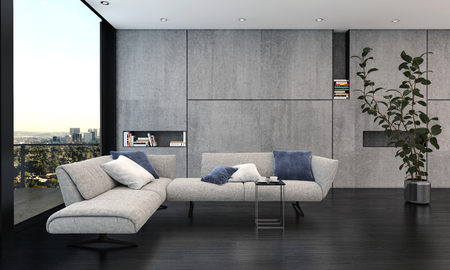 Spacious living room with big window and grey interior concept. Couch and indoor potted plant on black floor, against stylish modern wall decoration with bookshelve niches. 3d Rendering. Banque d'images - 124741935