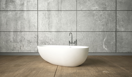 Ceramic white freestanding bath in minimalism bathroom interior design against grey wall