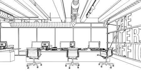 Office interior sketched in black and white concept, with desktop computers on wide desk and empty armchairs