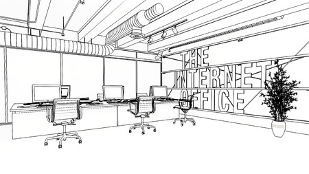 Sketched internet company office interior concept with open workplaces and spacious room. Black and white unpainted interior idea. Banque d'images - 124741939