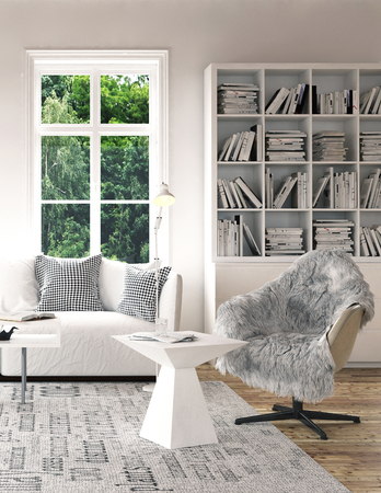 Stylish white coffee table and armchair with fur on grey carpet in bright living room. White cupboard with bookshelves near high window and white couch. Living room interior concept. 3d Rendering.