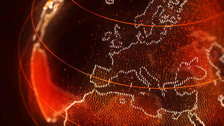Textured globe background with European continent ringed with lights under a suffused golden orange overlay in a conceptual illustration