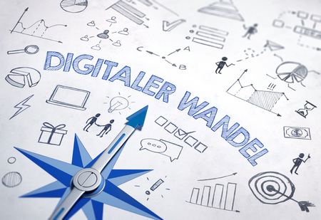 Digitaler wandel (German for Digital change) written in bold, blue font in an IT design with compass and various sketches. 3d Rendering