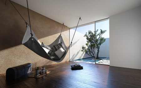 Hammock hanging from the ceiling in a minimalist living room in a modern home with glass door to exterior walled patio. 3d render