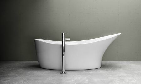 Elegant curved boat-shaped bathtub and tall chrome tap in a minimalist home with monochrome grey decor on a mottled floor. 3d rendering Banque d'images - 130167285