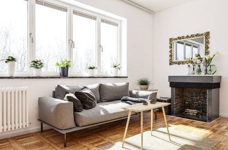 Cozy living room or den interior with fireplace and wall mirror and a comfortable sofa with cushions below sunny windows with flowerpots. 3d rendering Banque d'images - 130167286