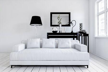 Amplio sofá blanco frente a lámpara de pie negra y mesa debajo de espejo rectangular en marco negro. Representación 3d
