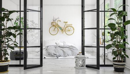 Eclectic modern monochrome white bedroom with wall mounted bright yellow bicycle above a messy bed viewed through foldaway glass doors with potted plants. 3d rendering