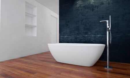 Badewanne im geräumigen modernen Badezimmer mit Laminat-Holzboden. 3D-Rendering