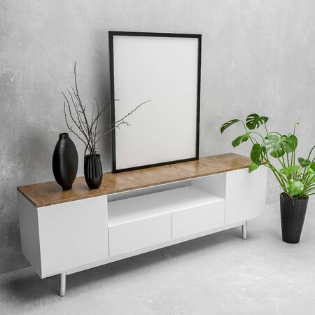 Modern white cabinet with blank picture canvas in a simple black frame on top and houseplant in a monochromatic white living room. 3d rendering Banque d'images - 130167296
