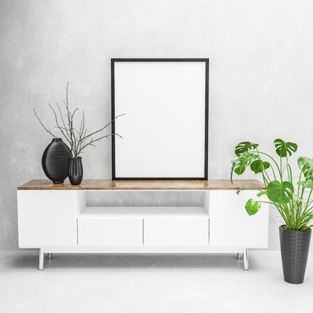 3D render of modern white table and potted houseplant under large black picture frame on monochrome wall. 3d rendering