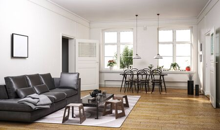 Large open plan luxury living room interior with lounge area with leather couch and dining area with bentwood table and chairs below two windows on a hardwood floor. 3d rendering
